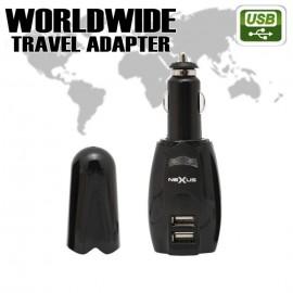 Adaptor de cãlãtorie universalã cu soclu 2 x USB, 4 x fiºã pentru diferite reþele + fiºã brichetã
